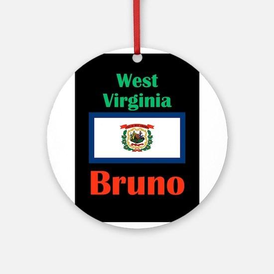 Bruno West Virginia Round Ornament