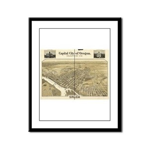 Salem Old Map Framed Panel Print
