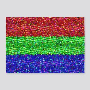 Martian Tricolore Stained Glass 5'x7'Area Rug
