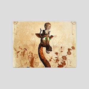 Funny giraffe with fairy 5'x7'Area Rug