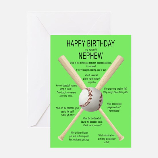 Funny birthday card for nephew, awful baseball jo
