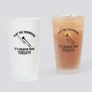 trombone It's Cheaper Than Therapy Drinking Glass