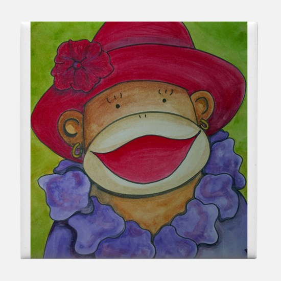 Red Hat Sock Monkey Tile Coaster