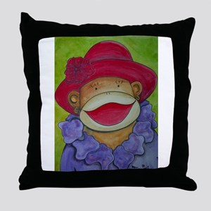 Red Hat Sock Monkey Throw Pillow