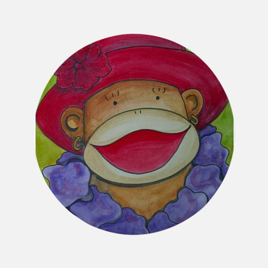 """Red Hat Sock Monkey 3.5"""" Button"""