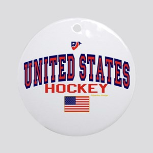 US(USA) United States Hockey Ornament (Round)