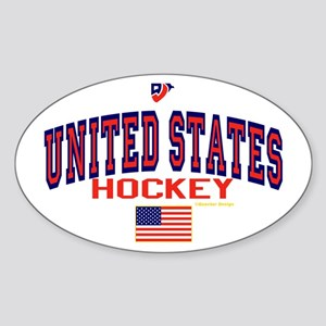 US(USA) United States Hockey Oval Sticker