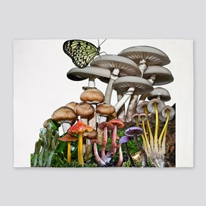 Mushrooms and butterfly 5'x7'Area Rug
