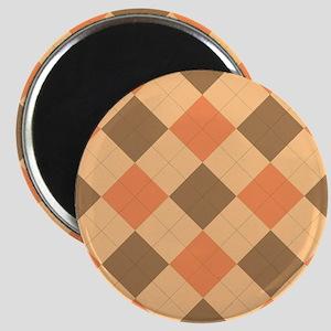 Brown and orange argyle pattern Magnets