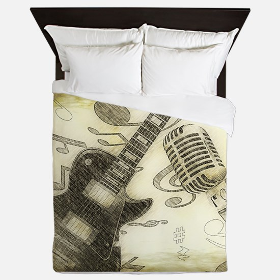 Vintage Guitar Queen Duvet
