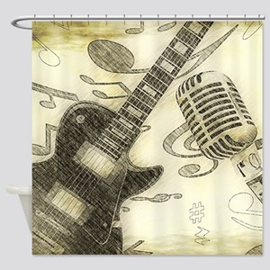 Vintage Guitar Shower Curtain