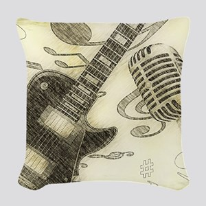 Vintage Guitar Woven Throw Pillow