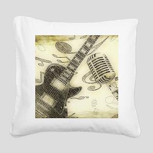 Vintage Guitar Square Canvas Pillow