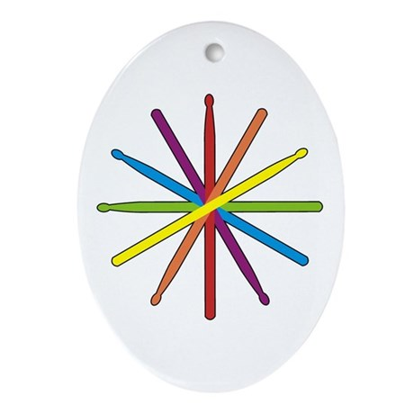 Drumstick Star Oval Ornament