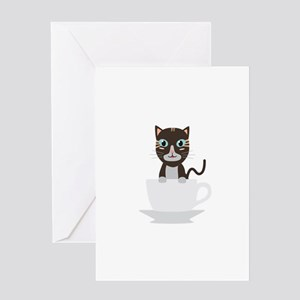 Cat in Cup Greeting Cards
