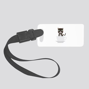 Cat in Cup Small Luggage Tag