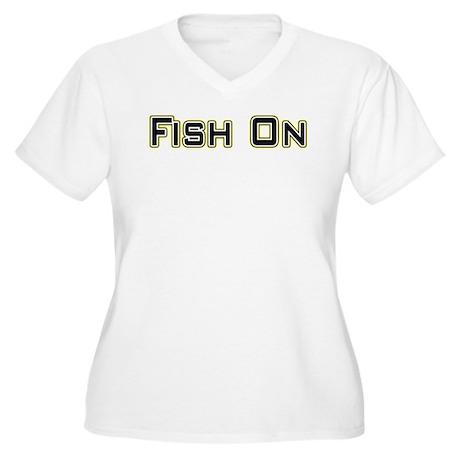 Fish On (2) Women's Plus Size V-Neck T-Shirt