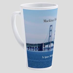 Mackinac Bridge From St. Ignace 17 Oz Latte Mug