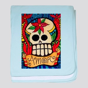 Amor Day of the Dead Skull baby blanket