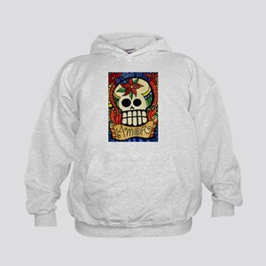 Amor Day of the Dead Skull Kids Hoodie