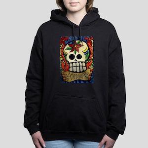 Amor Day of the Dead Sku Women's Hooded Sweatshirt