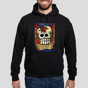Amor Day of the Dead Skull Hoodie (dark)