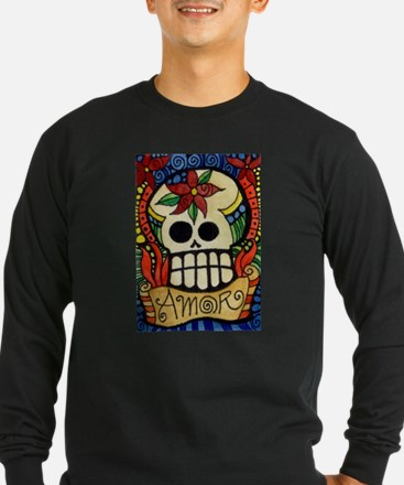 Amor Day of the Dead Skull Long Sleeve T-Shirt
