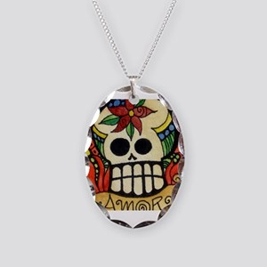 Amor Day of the Dead Skull Necklace Oval Charm