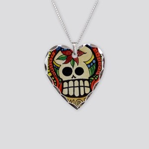 Amor Day of the Dead Skull Necklace Heart Charm