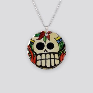 Amor Day of the Dead Skull Necklace Circle Charm