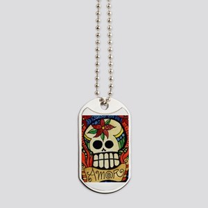 Amor Day of the Dead Skull Dog Tags
