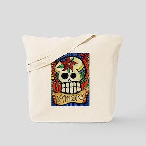 Amor Day of the Dead Skull Tote Bag
