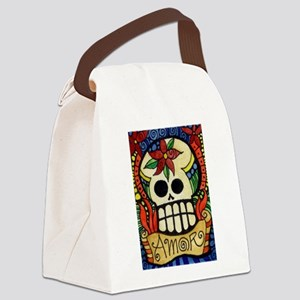 Amor Day of the Dead Skull Canvas Lunch Bag