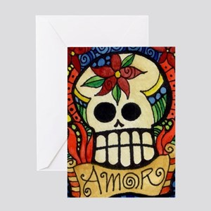 Amor Day of the Dead Skull Greeting Cards