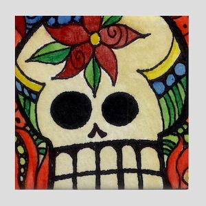 Amor Day of the Dead Skull Tile Coaster