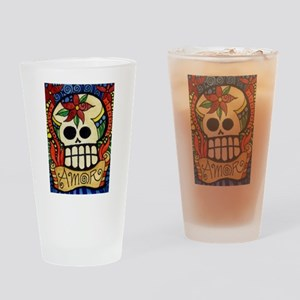 Amor Day of the Dead Skull Drinking Glass