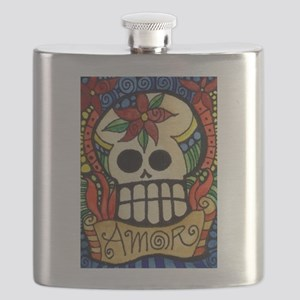 Amor Day of the Dead Skull Flask