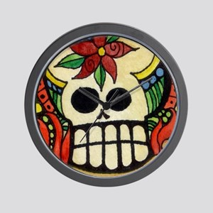Amor Day of the Dead Skull Wall Clock