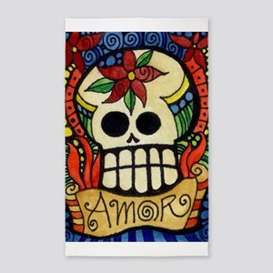 Amor Day of the Dead Skull Area Rug