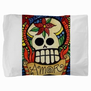 Amor Day of the Dead Skull Pillow Sham