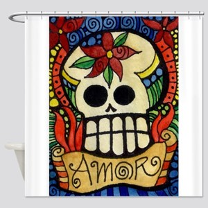 Amor Day of the Dead Skull Shower Curtain