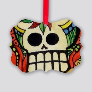 Amor Day of the Dead Skull Picture Ornament