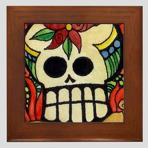 Amor Day of the Dead Skull Framed Tile
