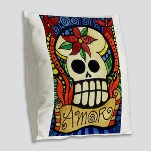 Amor Day of the Dead Skull Burlap Throw Pillow