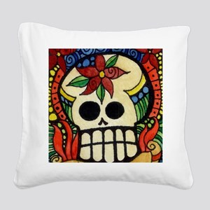 Amor Day of the Dead Skull Square Canvas Pillow