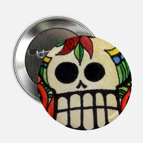 """Amor Day of the Dead Skull 2.25"""" Button"""
