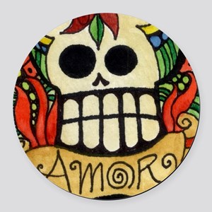 Amor Day of the Dead Skull Round Car Magnet