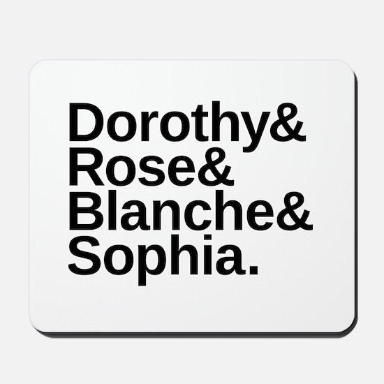 Golden Girls Name List Mousepad
