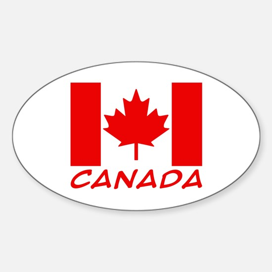 Canadian Flag Oval Bumper Stickers