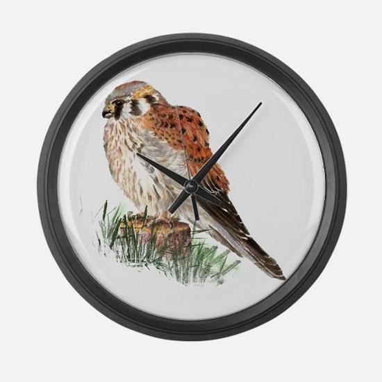Watercolor Kestrel Falcon Bird Na Large Wall Clock